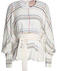ROKSANDA - Belted Printed Silk Blouse - Lyst