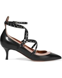 Valentino Love Latch Eyelet-embellished Leather Pumps Black