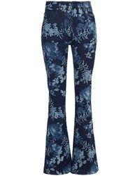 Etro Floral-print High-rise Flared Jeans Dark Denim - Blue