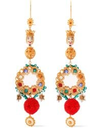 Dolce & Gabbana - Woman Gold-tone, Resin, Cord And Crystal Earrings Gold - Lyst