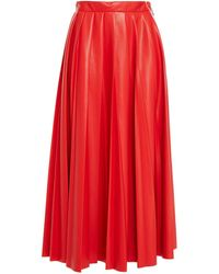 MSGM Pleated Faux Stretch-leather Midi Skirt - Red