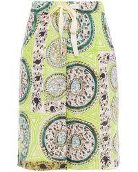 JW Anderson Embellished Printed Linen-gauze Shorts Lime Green