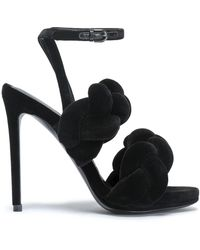 8776ad50dab2f7 Marco De Vincenzo - Black Glitter Velvet Braided Strap 130 Sandals - Lyst