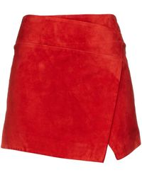Michelle Mason Minirock aus veloursleder mit wickeleffekt - Rot