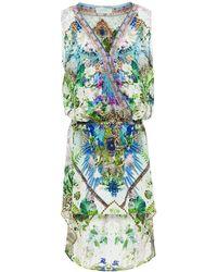Camilla Asymmetric Crystal-embellished Printed Silk Crepe De Chine Mini Dress Lime Green