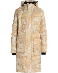 Ganni Printed Quilted Shell Hooded Coat - Natural