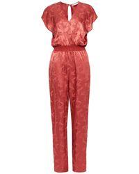Maje Pera Wrap-effect Satin-jacquard Jumpsuit Antique Rose - Red