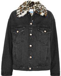 Steve J & Yoni P - Leopard-print Faux Fur-trimmed Denim Jacket - Lyst
