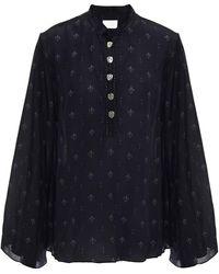Camilla Crystal-embellished Printed Silk Crepe De Chine Blouse - Black