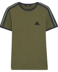 Yeezy + Adidas Embroidered Striped Cotton-jersey T-shirt - Green