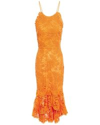 Maria Lucia Hohan Ayane Lace-up Fluted Cotton Guipure Lace Dress - Orange