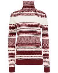 Tory Burch Julie Ribbed Intarsia-knit Turtleneck Jumper Claret - Multicolour