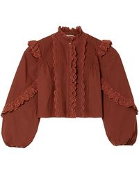 Ulla Johnson Adelaide Ruffled Broderie Anglaise-trimmed Cotton-poplin Shirt Brick - Red
