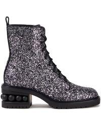 Nicholas Kirkwood Embellished Glittered Woven Combat Boots - Metallic