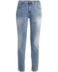 Roberto Cavalli - Faded High-rise Slim-leg Jeans Light Denim - Lyst