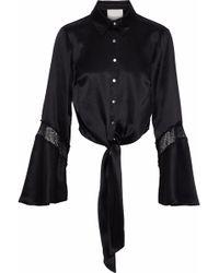 Cinq À Sept - Genevieve Tie-front Chantilly Lace-trimmed Silk-satin Shirt - Lyst
