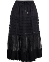 Lee Mathews Callie Pleated Silk-organza And Poplin Midi Skirt - Black
