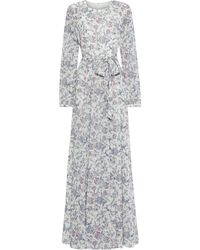 Mikael Aghal Belted Printed Crepe De Chine Maxi Dress - White