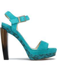 Jimmy Choo - Dora Suede, Elaphe, And Horn Platform Sandals - Lyst