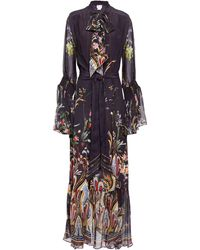 Camilla Wild Flower Pussy-bow Printed Silk Crepe De Chine Maxi Dress Dark Purple