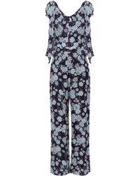 Claudie Pierlot - Woman Bow-embellished Floral-print Georgette Jumpsuit Navy - Lyst