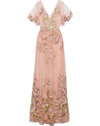 Marchesa notte - Pleated Embroidered Tulle Gown - Lyst