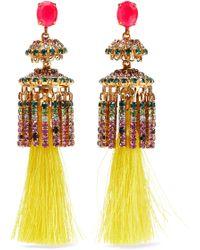 Elizabeth Cole 24-karat Gold-plated, Crystal And Tassel Earrings Yellow