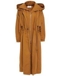 Zimmermann Gathered Cotton-gabardine Hooded Coat Mustard - Brown