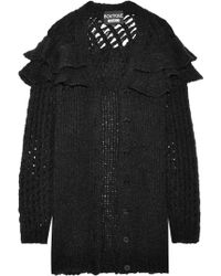 Boutique Moschino - Ruffle-trimmed Open-knit Cardigan - Lyst