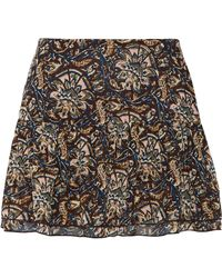Figue - Lucette Ruffled Printed Silk-georgette Mini Skirt - Lyst