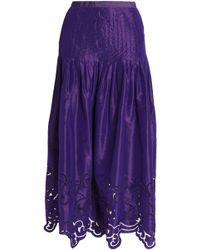 Oscar de la Renta - Silk-satin Pleated Jacquard Midi Skirt - Lyst