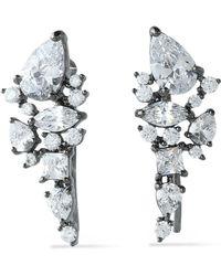 Noir Jewelry - Gunmetal-tone Crystal Earrings - Lyst