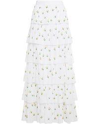 Antik Batik Oriane Tiered Bead-embellished Cotton-mousseline Maxi Skirt - White