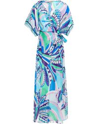 Emilio Pucci Printed Cotton And Silk-blend Voile Wrap Dress Turquoise - Blue