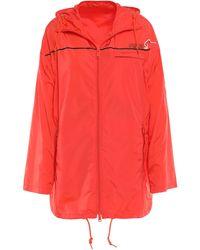Prada Printed Shell Hooded Jacket Bright Orange