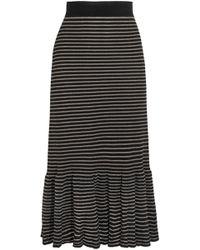 Sonia Rykiel - Woman Metallic Striped Cotton-blend Midi Skirt Black - Lyst