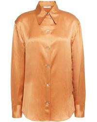 Vince Silk-satin Shirt Pastel Orange - Multicolour