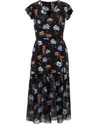 Markus Lupfer Floral-print Silk Crepe De Chine Midi Dress Black