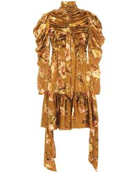 Zimmermann Resistance Bow-detailed Ruched Floral-print Silk-satin Mini Dress Light Brown