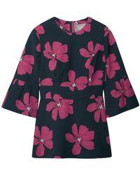 Lela Rose Cotton-blend Floral-jacquard Peplum Top Midnight Blue