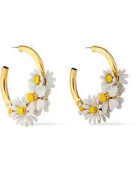 Elizabeth Cole 24-karat Gold-plated, Resin And Swarovski Crystal Hoop Earrings Gold - Metallic