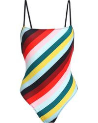 Solid & Striped The Chelsea Striped Swimsuit Mint