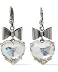 Tory Burch Silver-tone Crystal Earrings - Metallic