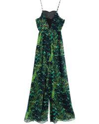 Matthew Williamson - Lace-paneled Printed Silk-chiffon Jumpsuit - Lyst
