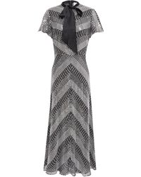 Temperley London Pussy-bow Embroidered Embellished Georgette Midi Dress Silver - Metallic