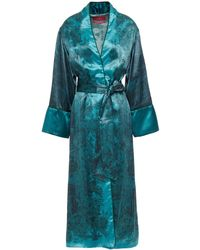 F.R.S For Restless Sleepers Nomos Belted Printed Cupro-blend Satin Coat - Blue