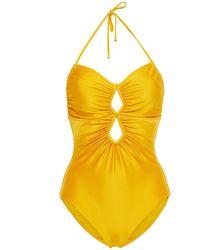 Zimmermann Empire diamond neckholder-badeanzug mit raffungen und cut-outs - Gelb