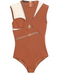 Balmain - Tulle-paneled Stretch-ponte Bodysuit - Lyst