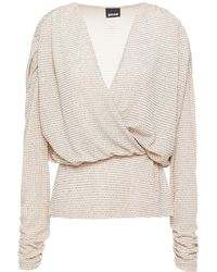 Just Cavalli Wrap-effect Glittered Stretch-jersey Blouse - Natural