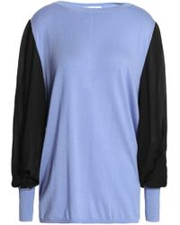 Amanda Wakeley - Ray Voile-paneled Silk, Wool And Cashmere-blend Sweater - Lyst